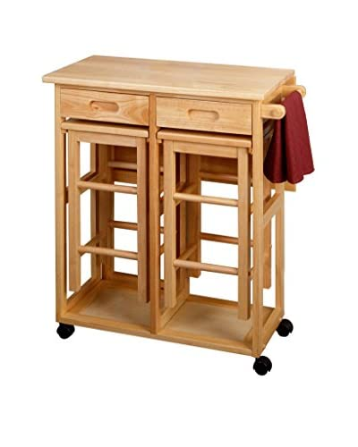 Luxury Home Space Saver Drop Leaf Table with 2 Square Stools, Beech