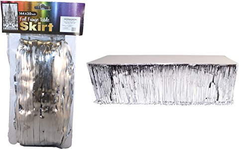 "Silver Color Metallic Foil Fringe Table Skirt - 144"" X 30"" - 1"