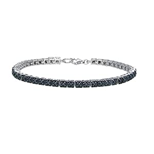 Sterling Silver Black Diamond Tennis Bracelet (1cttw, I2 Clarity)