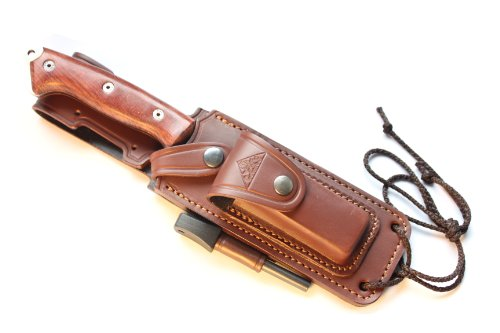 CELTIBEROCOCO - Outdoor / Survival / Hunting / Tactical Knife - Cocobolo Wood Handle, Stainless Steel MOVA-58 with Genuine Leather Multi-positioned Sheath + Sharpener Stone + Firesteel