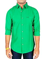 AA' Southbay Men's Green Long Sleeve Linen Cotton Casual Shirt