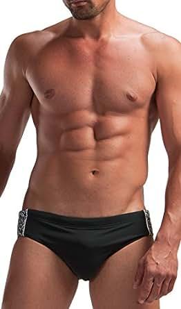 "GERONIMO Mens Swimming Trunks Black or Dark Grey ,Swim Brief Suit , Swimwear (S 27-30"" Waist EU 4, Dark Grey) 1225s2"