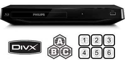 PHILIPS BDP2900 Compact All Region DVD Blu Ray Player – 100~240V 50/60Hz (6Feet HDMI Cable)