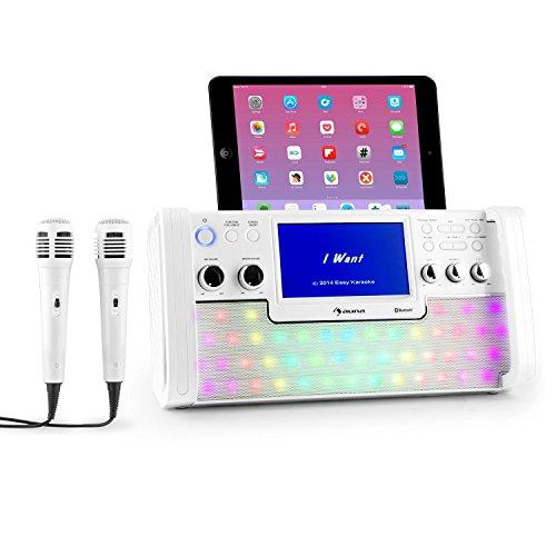 'Auna Disco Fever Karaoke Sistema Karaoke eléctrica Sistema de karaoke (Bluetooth, de 7TFT screen, CD, USB, función de grabación, 2micrófonos) Color Blanco