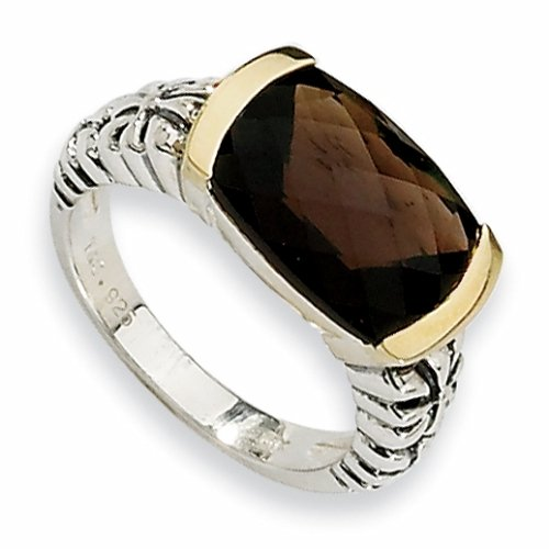 Sterling Silver and 14k 7.50ct Smokey Quartz Ring