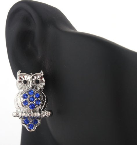Ladies Silver with Blue Iced Out Owl on Branch Stud Earrings