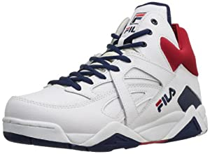 Fila Men's The Cage Basketball Shoe,White/Peacoat/Chinese Red/Gold,15 M US
