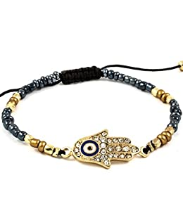 Accessory Accomplice Goldtone Crystal Studded Hamsa Charm Grey & Goldtone Seed Bead Adjustable Bracelet