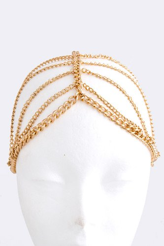 Fashion Hair Accessory ~ Goldtone Lined Drape Head Chain (Style BH0362 Gld)