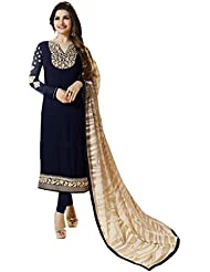 Fab Menia Prachi Desai Blue Georgette Churidar Party Wear Salwar Kameez