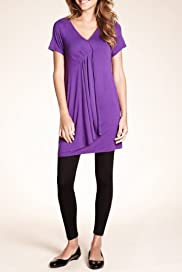 Short Sleeve Mock Wrap Plain Tunic [T43-8425-S]