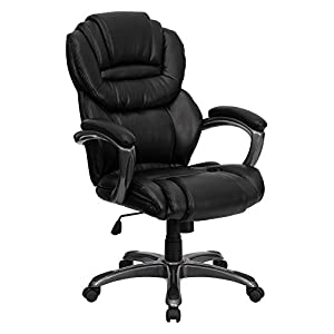 Flash Furniture High Back Black Leather Executive Office Chair with Leather Padded Loop Arms