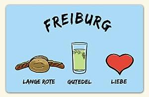 """Kühlschrankmagnet """"Freiburg: Lange Rote-Gutedel-Liebe"""" - als Geschenk für Breisgauer & Fans der Stadt am Fuss des Schwarzwalds oder als Freiburg Souvenir - die stadtmeister"""