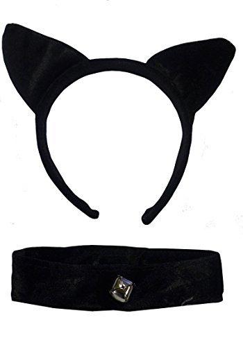 Cat Ears & Collar Black Velvet: Gothic Fancy Dress Halloween Fantasy Games by DangerousFX