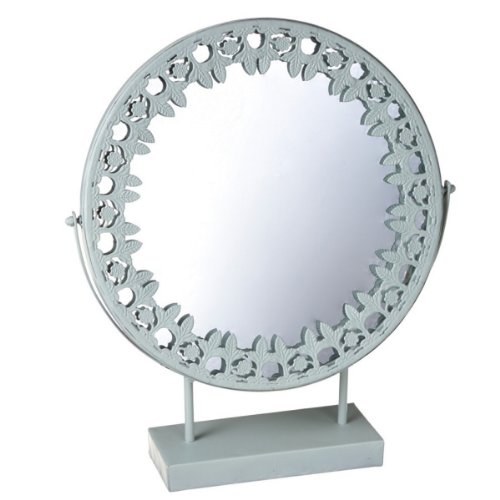 """19"""" Vintage Style Light Blue Round Mirror On Stand With Sculpted Trim front-403580"""