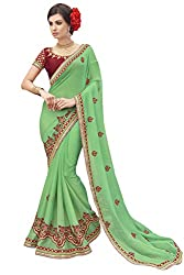 Sheknows Green Georgette Embroiderd Saree
