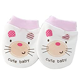 Smile Double Layers cotton Baby-girls Newborn Mittens Anti-Scratch Handguard Pink