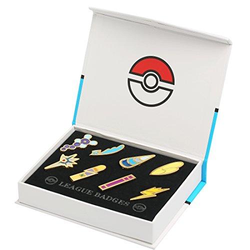 Katara - Set di 8 Spille Spillette Quinta Generazione Dei Pokemon Gym Badge da Collezione in Confezione Regalo - Medaglie Lega Pokemon