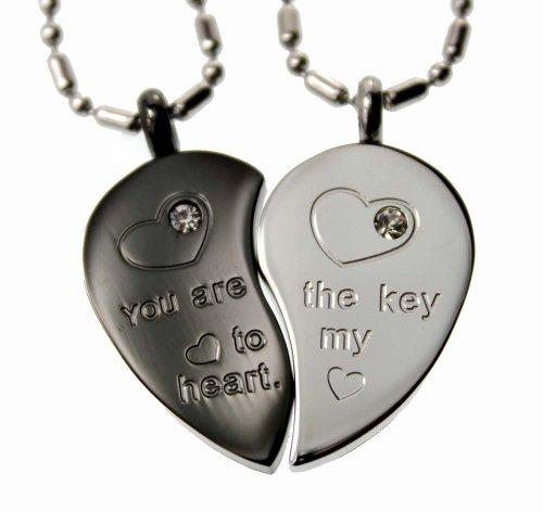 Lovers /Couple Silver & Black Tone Split Heart Pendant Set, Stainless Steel