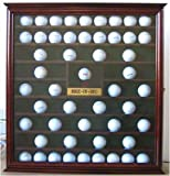 76 Golf Ball Holder Display Case Cabinet with Hole-In-One Plaque, Mahogany Finish
