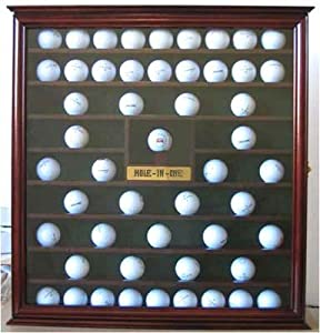 76 Golf Ball Holder Display Case Cabinet with Hole-In-One Plaque, Mahogany Finish by Unknown