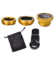 Fengfanglin Gold International Universal 3 in 1 Magic Mobile Lens (Fish Eye, Wide angle, Macro) Lens for Smartphones iPhone Tablets Laptops
