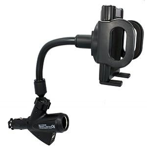 Xenda Universal Charging Car Mount Phone Holder with Dual USB Ports and Charger Socket for Sprint LG Optimus G - LG Optimus S - LG Rumor Reflex - LG Viper - LG Viper 4G LTE