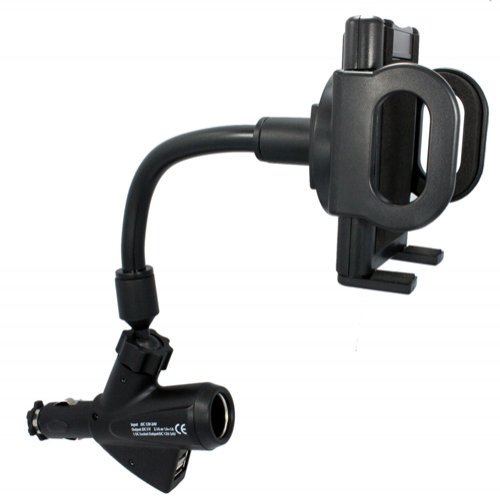 Xenda Universal Charging Car Mount Phone Holder With Dual Usb Ports And Charger Socket For Htc One (All Carriers Including At&T, Sprint, T-Mobile And Unlocked) front-771709