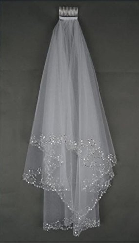 MLT Elbow Beaded Edge Pearl Sequins Wedding Bridal Veil with Comb (Ivory)
