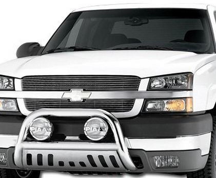 Chrome HAMMERED Stainless Steel Bull Bar Brush Bumper Grille Guard Chevy Silverado GMC Sierra (Brush Guard For Chevy Silverado compare prices)