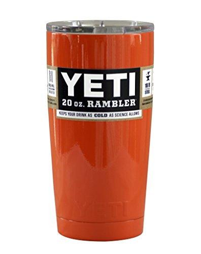 Yeti Coolers Custom Stainless Steel 20 oz Rambler Tumbler with Lid (Orange Coral)