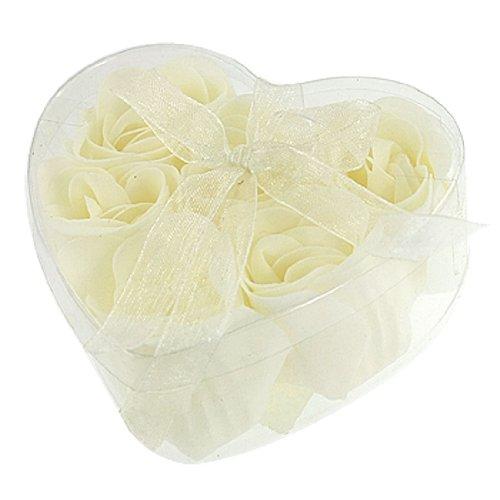 6 pz. Che fa il bagno Doccia Bianco Sporco Rosa, Fiore Sapone Da Bagno w di petali A Forma Di Cuore Scatola