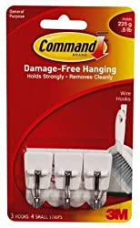 3M Command Small Wire Hooks, 0.5lb Capacity, White, Pack of 6(2 pack * 3 hooks each)
