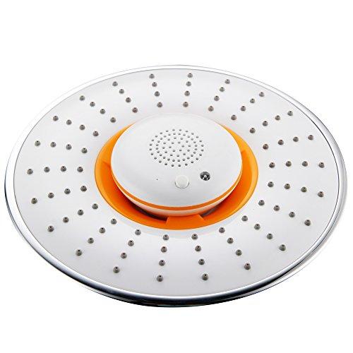 "Modern 8"" Abs Rain Shower Head Wireless Speaker Bluetooth Phone Chrome Music"