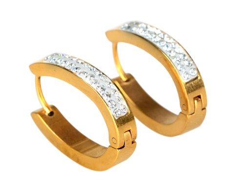 Imixlot 1 Paar Stilvolle gut gefaellt Kristall Huggies Creolen Edelstahl Oval Eardropohrringe-goldene
