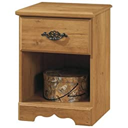 South Shore 3232062 Prairie Laminated Nightstand with One Drawer and Open Storage Area, Pine
