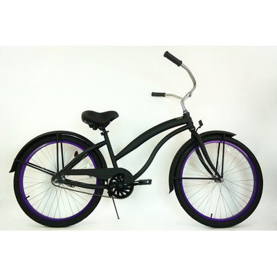 Women's Single Speed Aluminum Beach Cruiser Frame Color: Flat Black with Purple Wheels