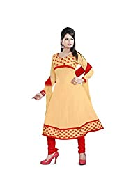 Parinaaz fashion Yellow Faux Georgette Unstitched Dress Material