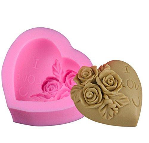 DIY Moules à bonbons et chocolat en silicone Moules à Savon pour décoration de gâteau Cupcake en Forme de Cœur Rose