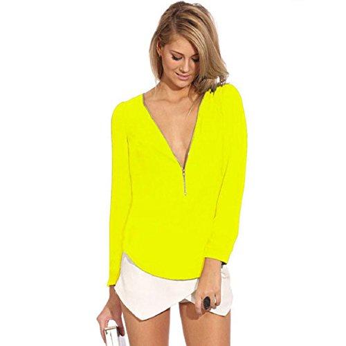 Sexy Hot Tops Women Sexy V-Neck Zipper Long-Sleeved Chiffon Blouse Shirt Tops (M, Yellow)