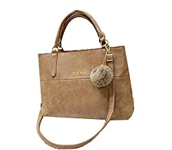 Di Grazia Italian Suede Leather Womens Shoulder Sling Satchel Handbag with Fur Charm - Brown