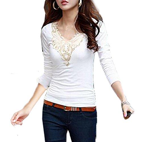 V-Neck Floral Pizzo Maglia a Manica Lunga T-Shirt - Donna Tops Blouse ( Bianco EU L )