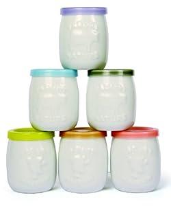 SAVEUR ET DEGUSTATION Lot de 6 pots de yaourt en céramique + couvercle couleur