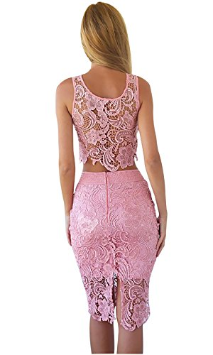 DZT Womens Sexy Sleeveless Lace Stitching Two Piece Cocktail Party Dress (Asia M/ US 4, Pink)