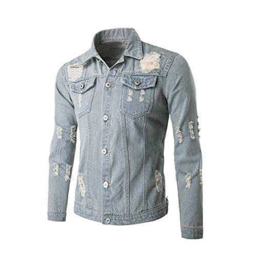 cappotto jeans, FEITONG uomini manica lunga jean foro camicia camicetta top classico giacca su misura (Azzurro, XXL)