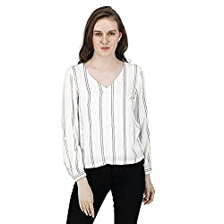 Women's Striped Simple Top, Long Sleeves, Trendy/Styish/Smart/Casual Top Wear for Women And Girls,White and Black