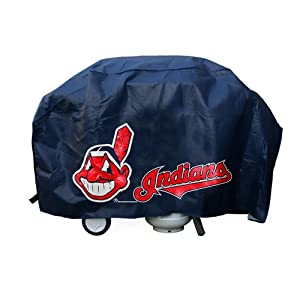 MLB Cleveland Indians Deluxe Vinyl Padded Grill Cover, Black by Rico