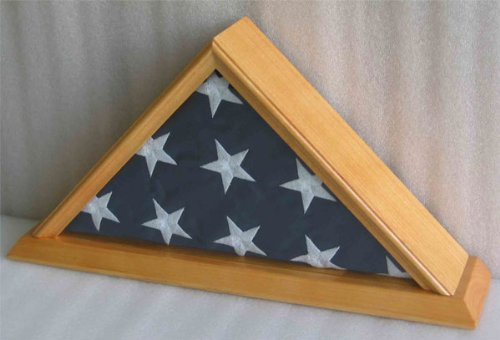 American Cadet/Capitol Flag Display Case for 3' X 5' Flag ONLY (NOT for Burial or Funeral Size Flag)-OAK finish, SOLID WOOD - NOT for Burial Flag.