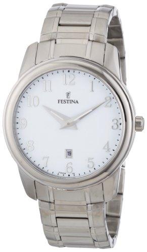 Festina F16378/2 - Reloj analógico de cuarzo para hombre con correa de acero inoxidable, color plateado