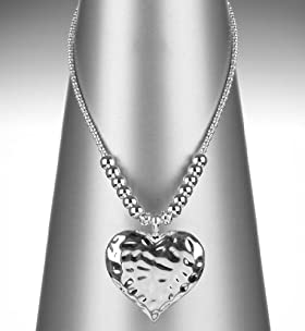 Battered Heart Pendant Diamanté Necklace
